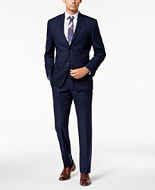 Marc New York by Andrew Mark Men's Modern-Fit Stretch Navy Plaid Suit