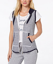 Tommy Hilfiger Sport Striped French Terry Hooded Vest, Created for Macy's