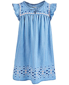 Epic Threads Little Girls Embroidered Denim Dress, Created for Macy's