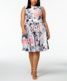 Calvin Klein Plus Size Floral-Print Fit and Flare Dress