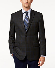 Michael Kors Men's Classic-Fit Gray/Blue Plaid Sport Coat