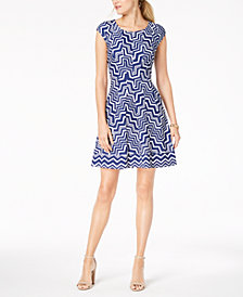 Robbie Bee Petite Geo-Print A-line Dress