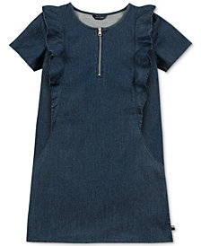 Tommy Hilfiger Big Girls Ruffle-Trim Cotton Denim Shift Dress