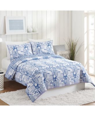 Molly Hatch by Swatch Blue Cotton Reversible 3-Pc. Full/Queen Quilt Set