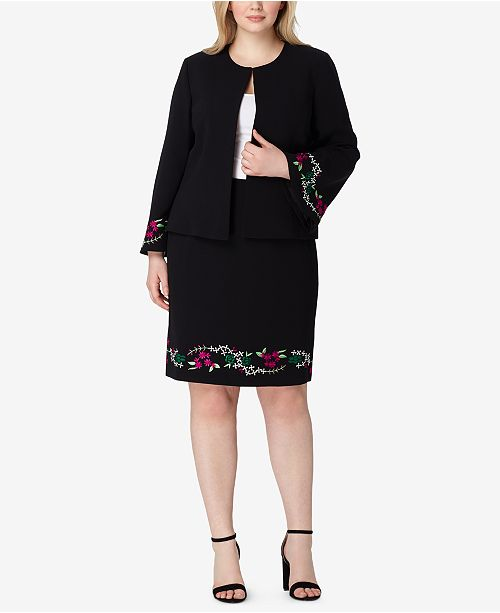 Tahari Asl Plus Size Embroidered Skirt Suit Wear To Work Women