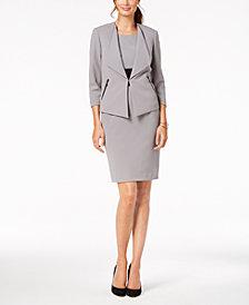 Kasper Wide-Lapel Jacket & Colorblocked Sheath Dress