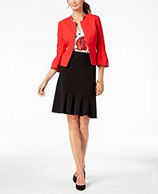 Nine West Flounce-Sleeve Blazer, Printed Shell & Flared Skirt