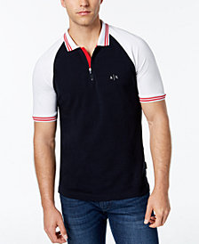 A|X Armani Exchange Men's Colorblocked Zip Polo, Created for Macy's
