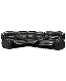 CLOSEOUT! Winterton 6-Pc. Leather Sectional Sofa With 3 Power Recliners, Power Headrests, Lumbar, 2 Consoles & USB Power Outlet