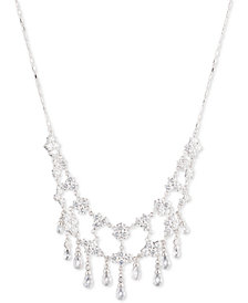 "Carolee Silver-Tone Cubic Zirconia 16"" Collar Necklace"
