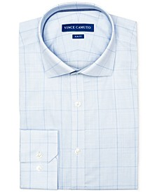 Men's Slim-Fit Comfort Stretch Topaz/Blue Check Dress Shirt