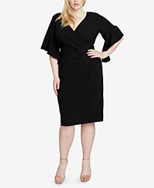 Plus Size Faux-Wrap Sheath Dress