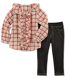 Calvin Klein Little Girls 2-Pc. Plaid Shirt & Denim Leggings Set