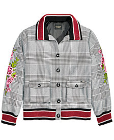 GUESS Big Girls Button-Front Bomber Jacket