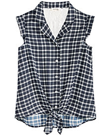 Monteau Big Girls Tie-Front Lace-Trim Plaid Shirt