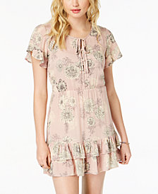 American Rag Juniors' Floral-Print Ruffled Peasant Dress, Created for Macy's