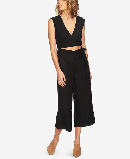 1 Jumpsuit Front Cutout Black Cropped Rich STATE Wrap 4q4rnxwRA