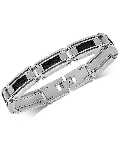 Macy's Men's Leather Inlay Link Bracelet in Stainless Steel