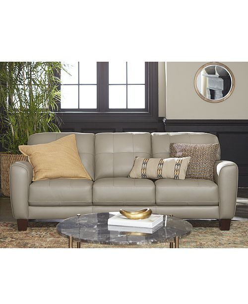 "Macysfurniture Com: Furniture Kaleb 84"" Tufted Leather Sofa, Created For Macy"