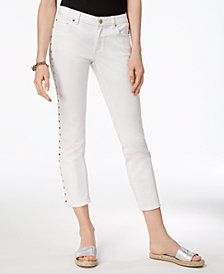 MICHAEL Michael Kors Cropped Studded Capri Jeans,a Macy's Exclusive Style