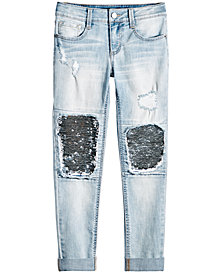 Imperial Star Big Girls Reversible Sequin Knee Jeans