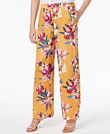 Bar III Floral-Print Wide-Leg Pants, Created for Macy's