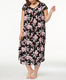 Charter Club Plus Size Crinkle Lace-Trim Nightgown, Created for Macy's