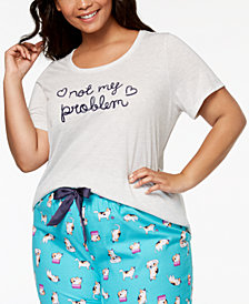 Jenni by Jennifer Moore Plus Size Embroidered-Graphic Pajama Top, Created for Macy's