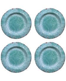 Jay Imports Vintage Teal Melamine Dinner Plates, Set of 4