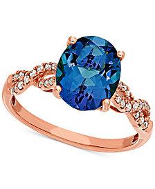 Blue Topaz (3-1/3 ct. t.w.) & Diamond (1/10 ct. t.w.) Ring in 14k Rose Gold