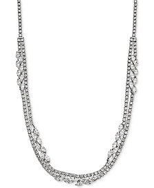 "Arabella Swarovski Zirconia 17"" Layered Collar Necklace in Sterling Silver"