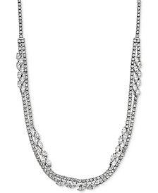"Arabella Swarovski Zirconia 17"" Layered Collar Necklace in Sterling Silver"