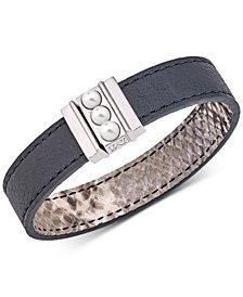 Majorica Silver-Tone Imitation Pearl Reversible Leather Bracelet