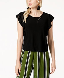 Bar III Ruffle-Sleeve Top, Created for Macy's