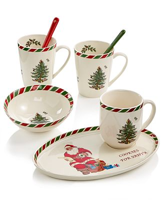 The Classic Christmas Tree Gets A Cheery Update With The Spirited Spiral Border Design Of The Spode Candy Cane Stoneware Dinnerware Collection