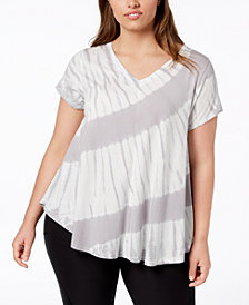 Calvin Klein Performance Tie-Dyed V-Neck Top