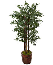 Nearly Natural 4.5' Parlour Palm Artificial Tree in Bamboo Planter