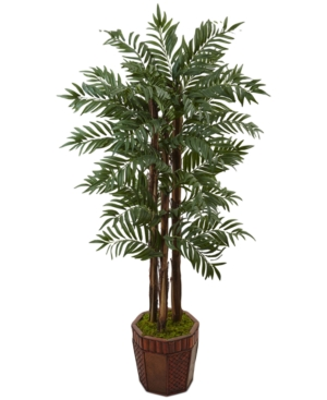 Nearly Natural 45 Parlour Palm Artificial Tree in Bamboo Planter