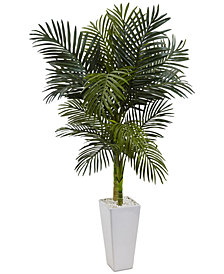 Nearly Natural 5' Golden Cane Palm Artificial Tree in White Tower Planter