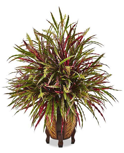 Nearly Natural Autumn Grass Artificial Arrangement in Woven Planter