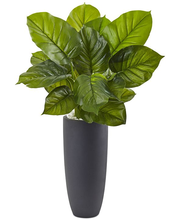 Nearly Natural Large Leaf Philodendron Artificial Plant in Gray Cylindrical Planter