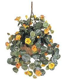 Nearly Natural Nasturtium Artificial Plant Hanging Basket