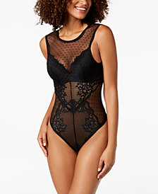 I.N.C. Floral Mesh & Lace Bodysuit, Created for Macy's