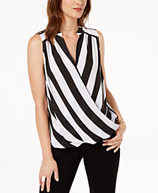 I.N.C. Sleeveless Printed Surplice Top, Created for Macy's