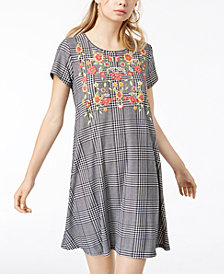 Derek Heart Juniors' Puff-Paint Plaid Swing Dress