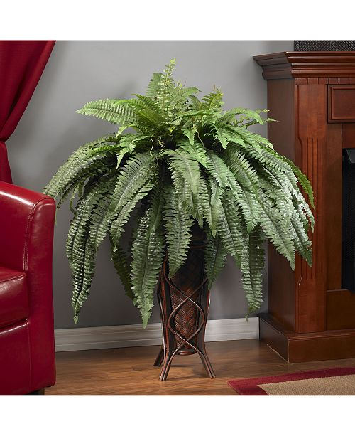Macy Home Decor: Nearly Natural Boston Fern Artificial Plant In Stand