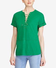 Lauren Ralph Lauren Petite Lace-Up Cotton Top