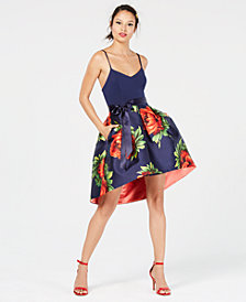 Teeze Me Juniors' Solid & Floral Satin High-Low Dress
