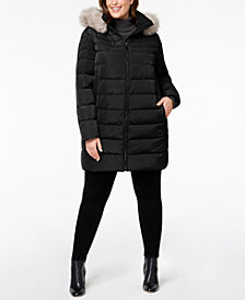 DKNY Plus Size Faux-Fur-Trim Puffer Coat