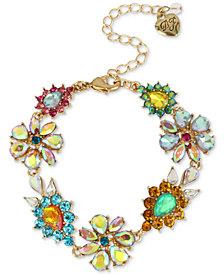 Betsey Johnson Gold-Tone Multi-Stone Flower Flex Bracelet